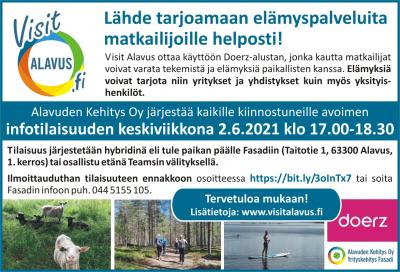 Alavuden Kehitys Oy järjestää kaikille Doerz-elämyspalvelusta kiinnostuneille avoimen infotilaisuuden keskiviikkona 2.6.2021 klo 17.00-18.30