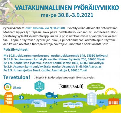 Valtakunnallinen pyöräilyviikko Alavudella ma-pe 30.8.-3.9.2021