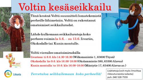 Voltti-tiikeri suunnitteli lomatekemistä perheille Alavuden lähimetsiin. Lähde kulkemaan seikkailuratoja koko perheen voimin la 5.6. – su 13.6. Iivariin, Okskodalle tai Kunin montulle.