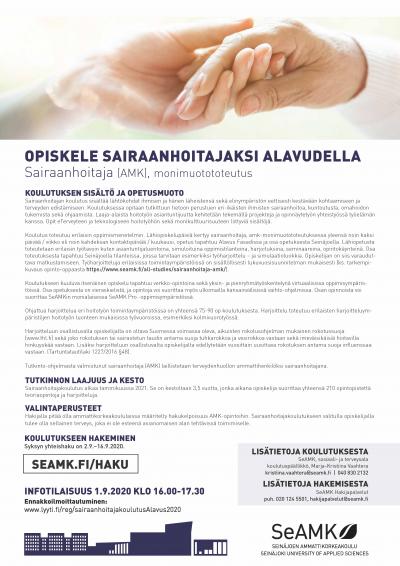 Alavudella alkaa sairaanhoitajakoulutus tammikuussa 2021. Haku 2.9.2020 alkavassa korkeakoulujen syksyn yhteishaussa.